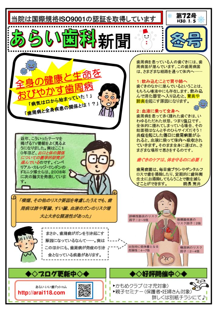 第72号  全身の健康を脅かす歯周病?!